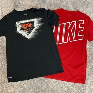 Boys XL Nike T-Shirts. 1 red and 1 baseball.